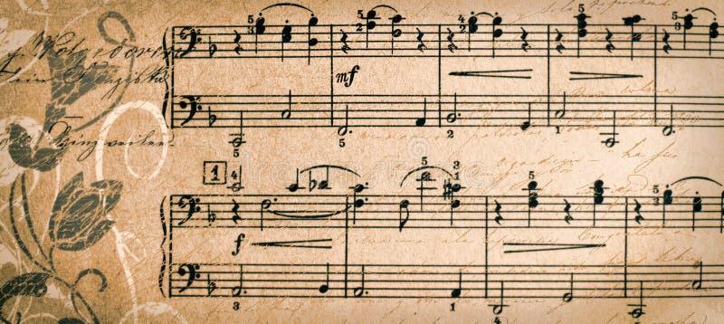 Insegna con il fondo d'annata di musica - modello dell'intestazione di web - web immagine stock libera da diritti