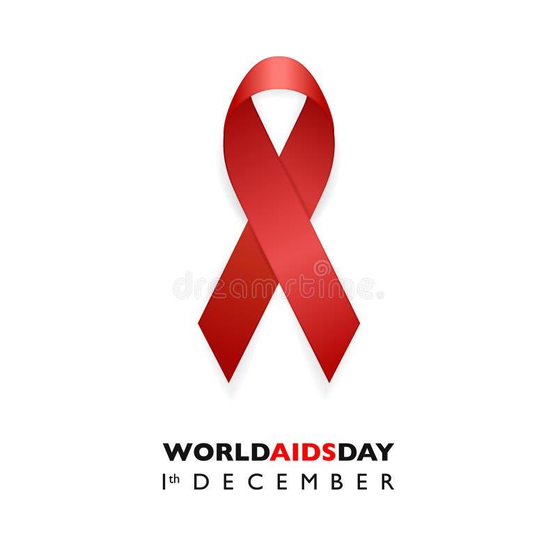 Insegna con il nastro di rosso di consapevolezza dell'AIDS Concetto di giorno dell'AIDS Modello per le riviste dei siti Web, info illustrazione vettoriale