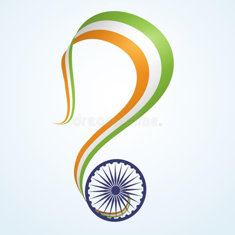 Insegna con il nastro ondulato dei colori della bandiera nazionale dell'elemento creativo dell'India A per la progettazione delle royalty illustrazione gratis