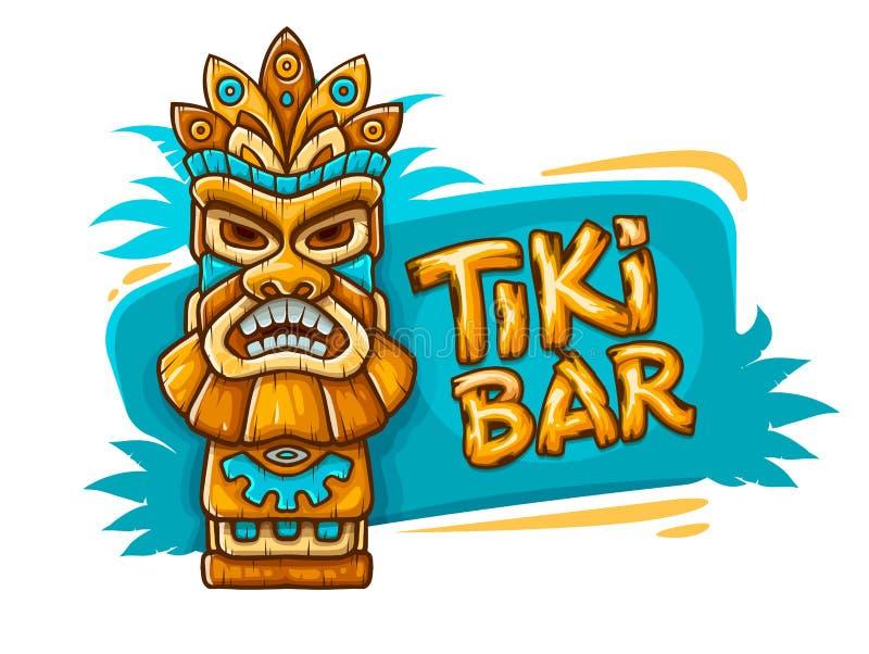 Insegna con la maschera tribale tradizionale etnica di Tiki illustrazione di stock