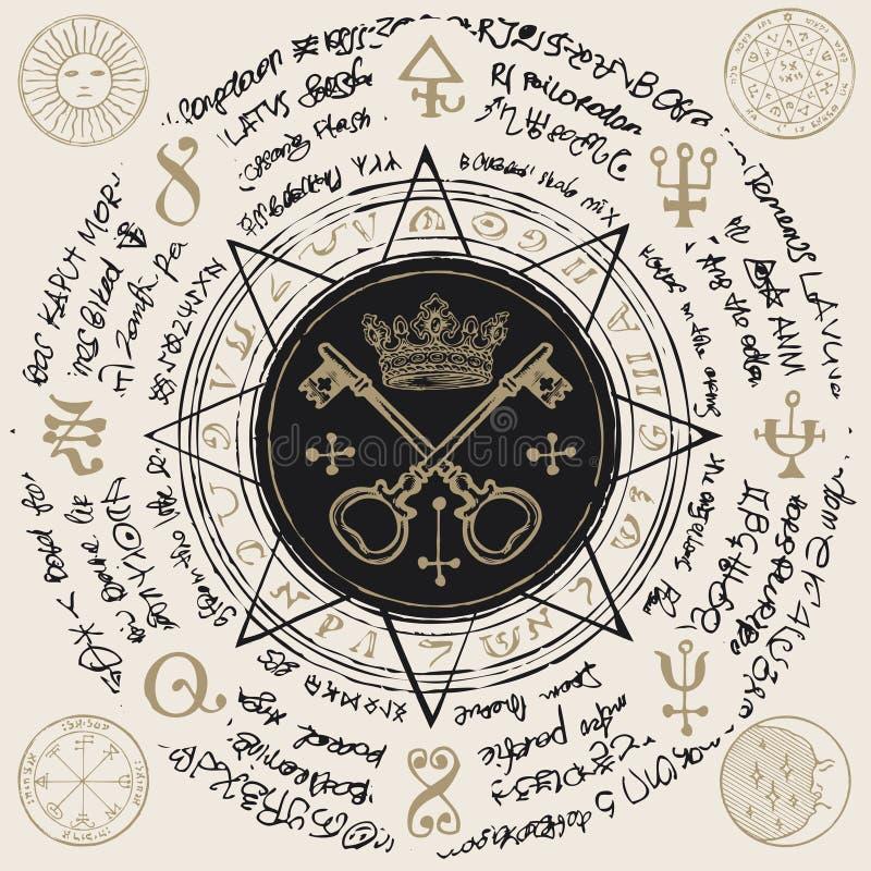 Insegna con le chiavi e corona in una stella ottagonale illustrazione di stock
