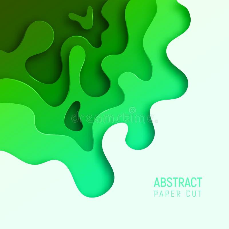 Insegna con le onde del taglio della carta dell'estratto 3D e fondo con il verde del UFO di colore più popolare Disposizione di p illustrazione di stock