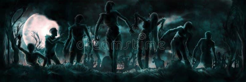 Insegna con le siluette degli zombie royalty illustrazione gratis