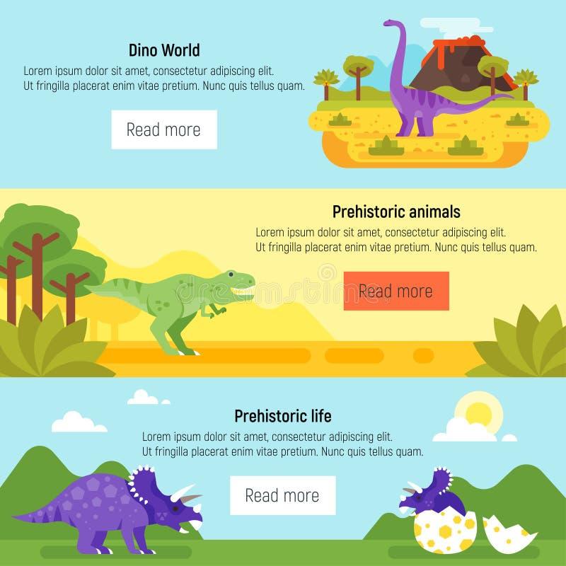 Insegna con paesaggio ed i dinosauri preistorici royalty illustrazione gratis