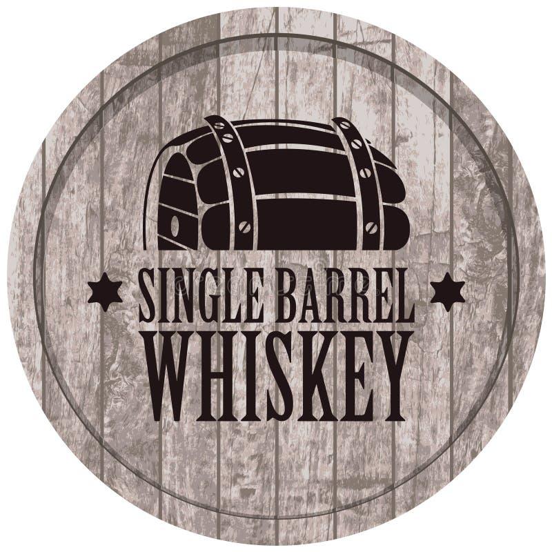 Insegna con un barilotto di whiskey nel retro stile illustrazione di stock