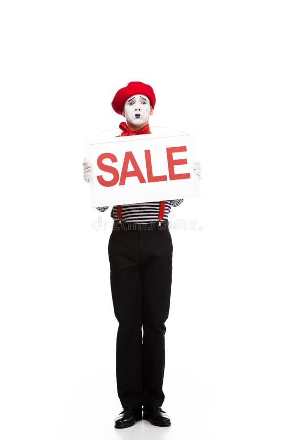 insegna confusa di vendita della tenuta del mimo fotografia stock