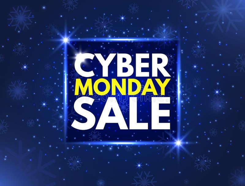 Insegna cyber di concetto di vendita di lunedì Insegna luminosa, pubblicità notturna Fondo di vendita annuale Buona promozione di illustrazione di stock
