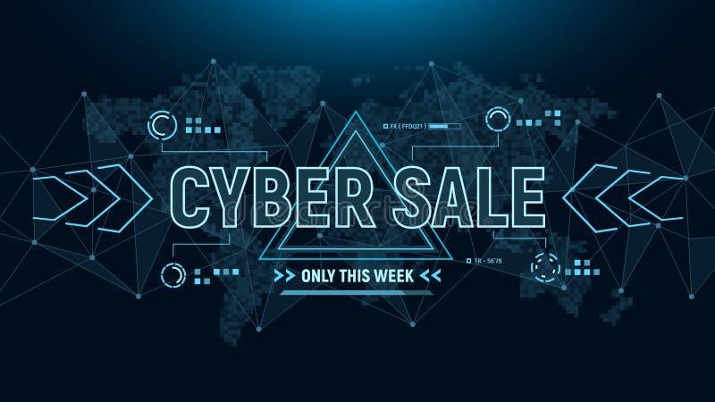 Insegna cyber di vendita Fondo futuristico dell'insegna con la mappa della struttura e di mondo del collegamento dei poligoni in  illustrazione vettoriale