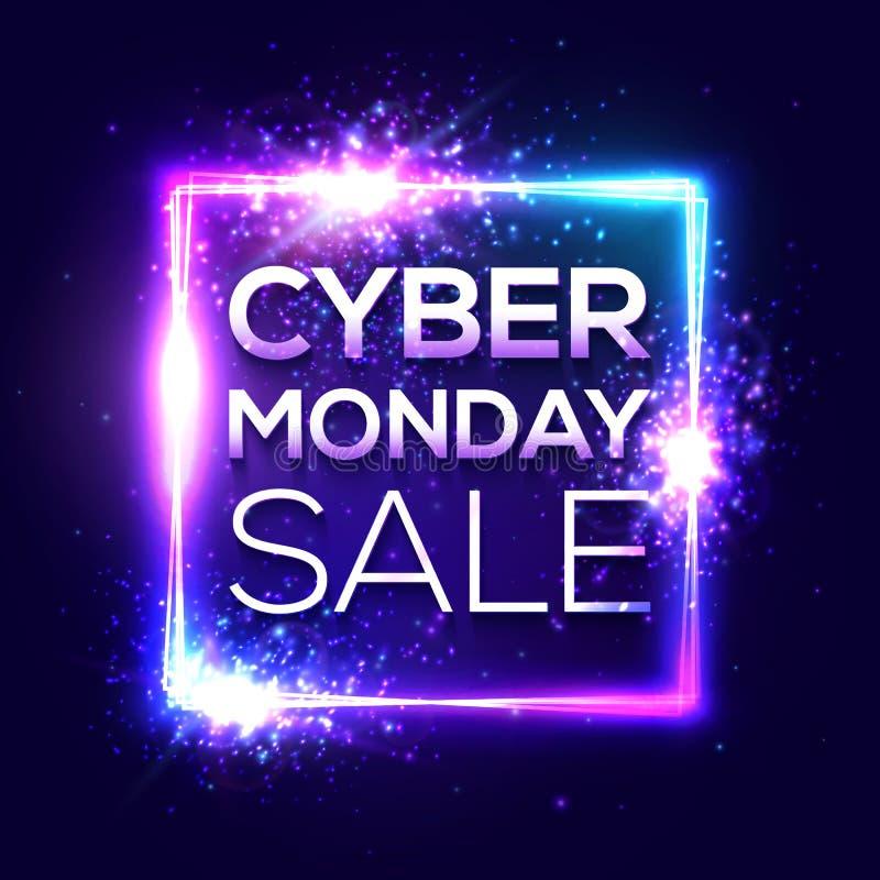 Insegna cyber di vendita di lunedì Stile al neon alla moda illustrazione vettoriale