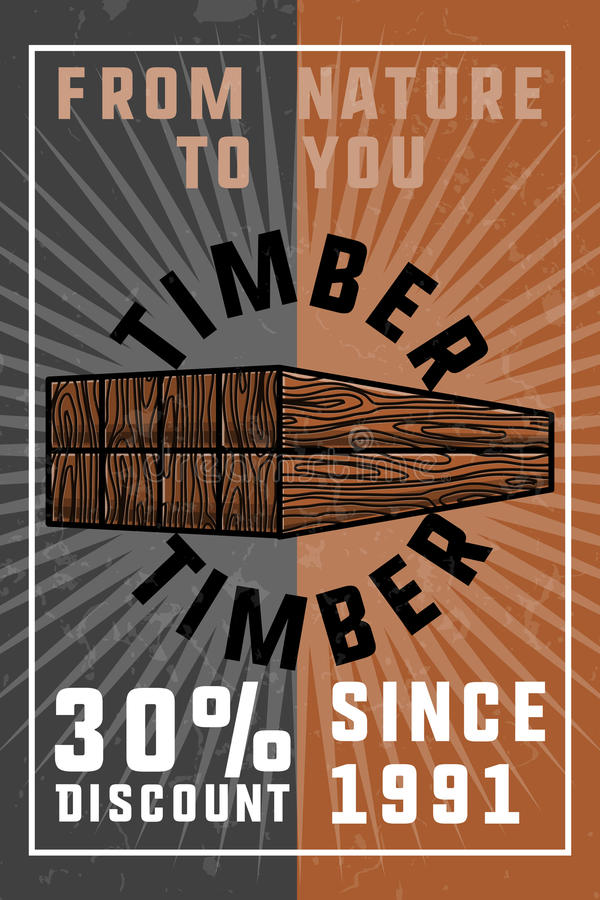 Insegna d'annata del legname di colore illustrazione di stock