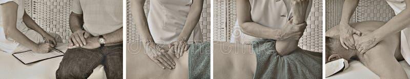 Insegna d'annata del sito Web di massaggio di sport di stile fotografia stock