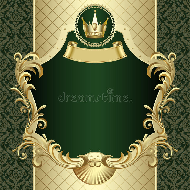 Insegna d'annata dell'oro con una corona su backgroun barrocco verde scuro royalty illustrazione gratis