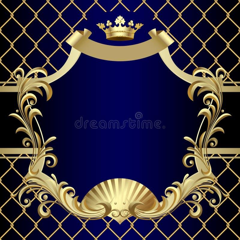 Insegna d'annata dell'oro con una corona su fondo barrocco blu scuro illustrazione di stock