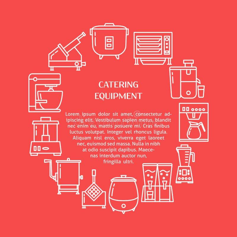 Insegna d'approvvigionamento di concetto del giro dell'attrezzatura nella linea stile illustrazione di stock