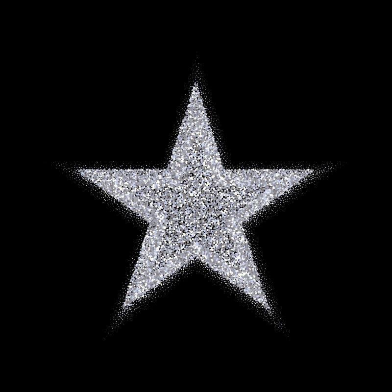 Insegna d'argento di vettore della stella Scintillio d'argento Modello, carta, VIP, esclusiva, certificato, buono di lusso di pri illustrazione vettoriale