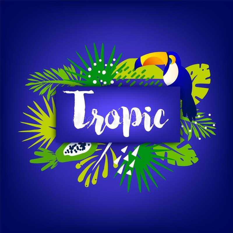 Insegna d'avanguardia di estate con le foglie di palma, il tucano, le piante tropicali ed il testo su fondo scuro Progettazione p royalty illustrazione gratis