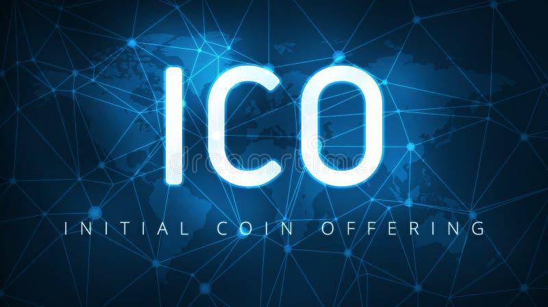 Insegna d'offerta della moneta di iniziale di ICO illustrazione vettoriale