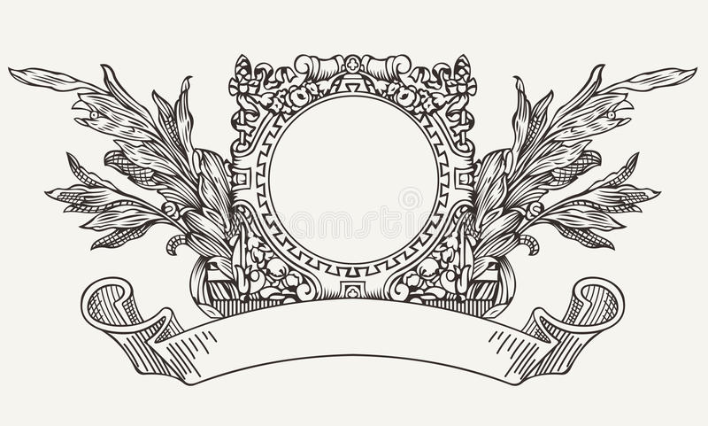 Insegna decorata d'annata del rotolo della corona royalty illustrazione gratis