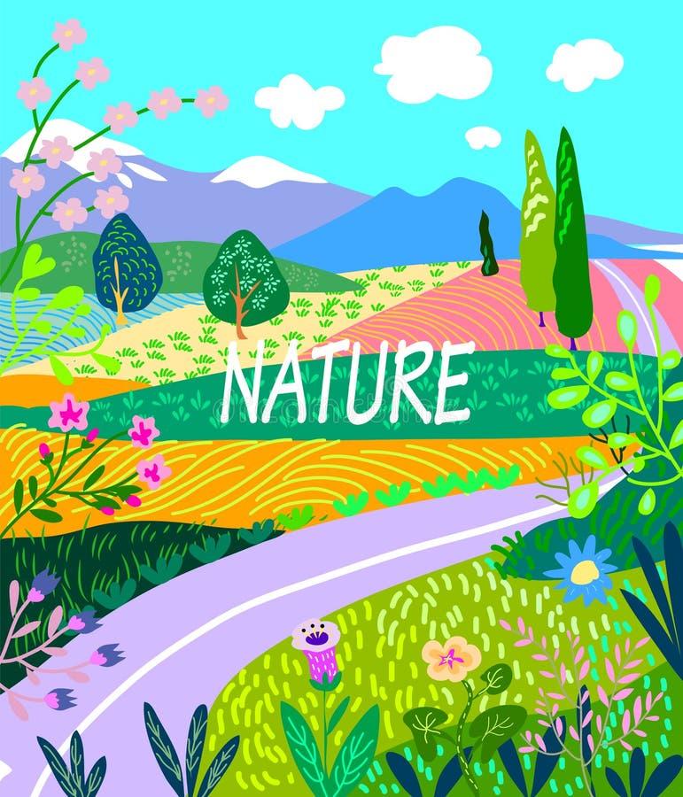 Insegna decorativa, paesaggio di estate con paesaggio, caro ed i fiori illustrazione vettoriale