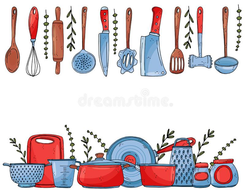 Insegna degli elementi con l'isolato disegnato a mano dell'articolo da cucina su un fondo bianco illustrazione vettoriale