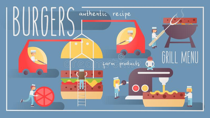 insegna degli hamburger illustrazione di stock