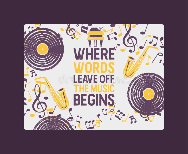 Insegna degli strumenti musicali, illustrazione di vettore del manifesto Concetto di musica con il disco di vinile, sassofono Gio royalty illustrazione gratis