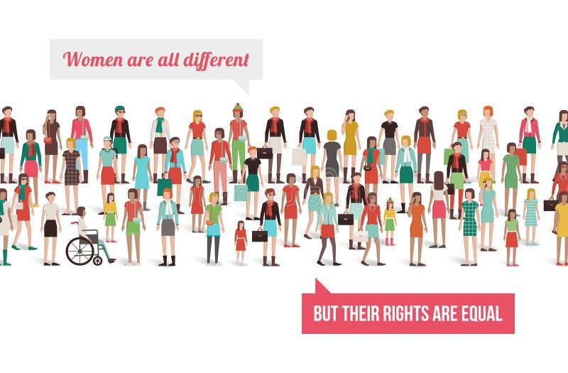 Insegna dei diritti delle donne illustrazione di stock