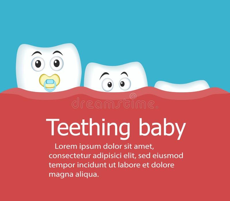 Insegna del bambino di dentizione con i denti royalty illustrazione gratis