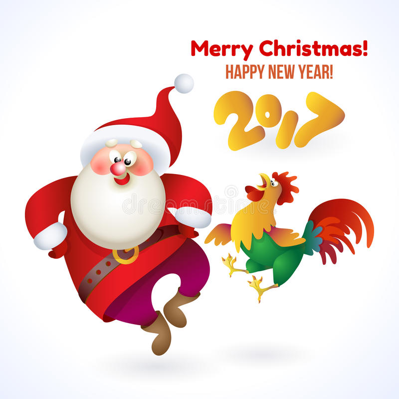 Insegna 2017 del buon anno con Santa Claus ed il gallo illustrazione vettoriale