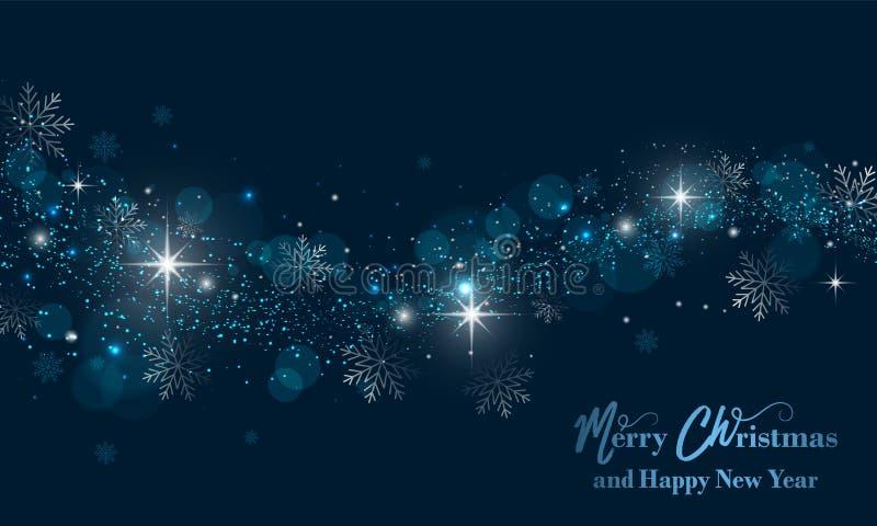 Insegna del buon anno e di Buon Natale con le stelle, lo scintillio ed i fiocchi di neve Fondo di vettore illustrazione vettoriale