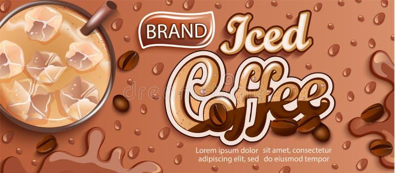 Insegna del caffè ghiacciato con ghiaccio e gocce apteitic illustrazione vettoriale