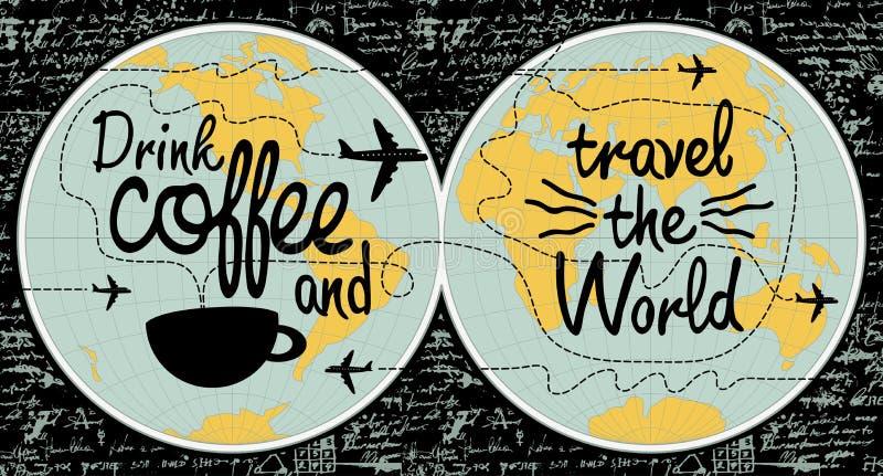 Insegna del caffè sul tema del viaggio il mondo royalty illustrazione gratis