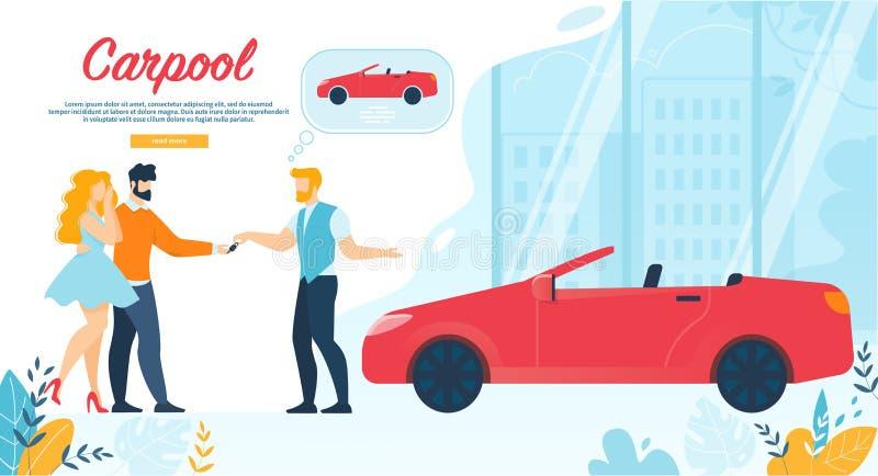 Insegna del car pooling, chiave dell'automobile di elasticità dell'uomo alle giovani coppie illustrazione vettoriale