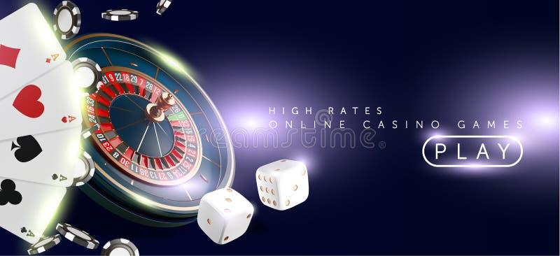 Insegna del casinò o fondo online dell'aletta di filatoio Ruota di roulette del casinò di Vegas isolata su fondo blu vettore real royalty illustrazione gratis