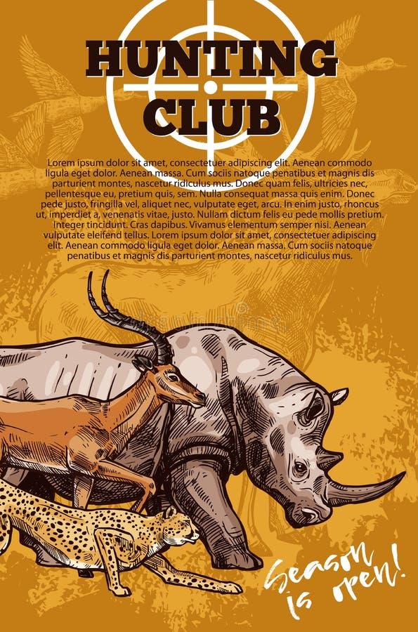 Insegna del club di caccia con l'obiettivo e l'animale africano illustrazione vettoriale