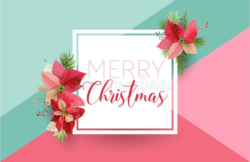 Insegna del fiore della stella di Natale di inverno di Natale, fondo grafico, invito floreale di dicembre, aletta di filatoio o c royalty illustrazione gratis