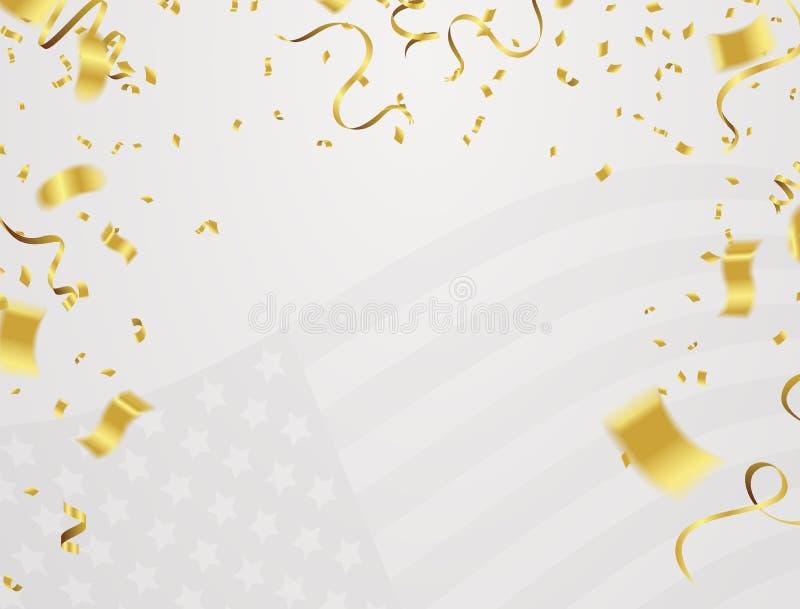 Insegna del fondo per il 4 luglio, festa dell'indipendenza Celebratio di U.S.A. illustrazione di stock