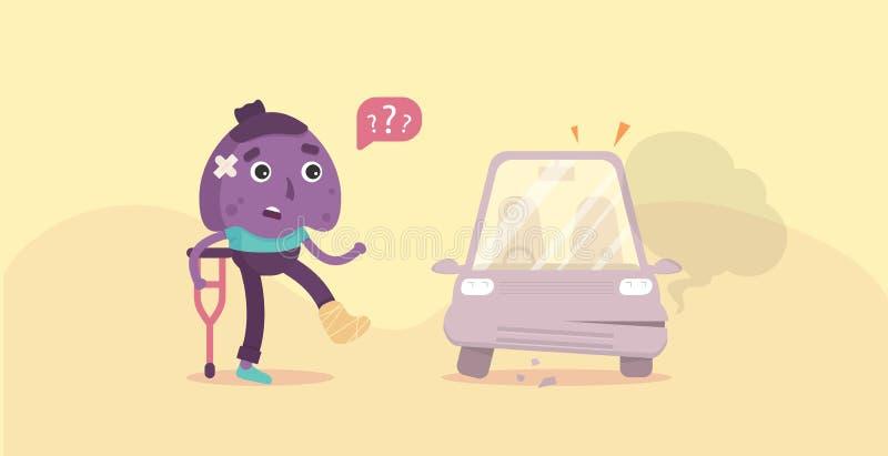 Insegna del fumetto di incidente stradale Carattere e incidente stradale piani Vettore illustrazione vettoriale