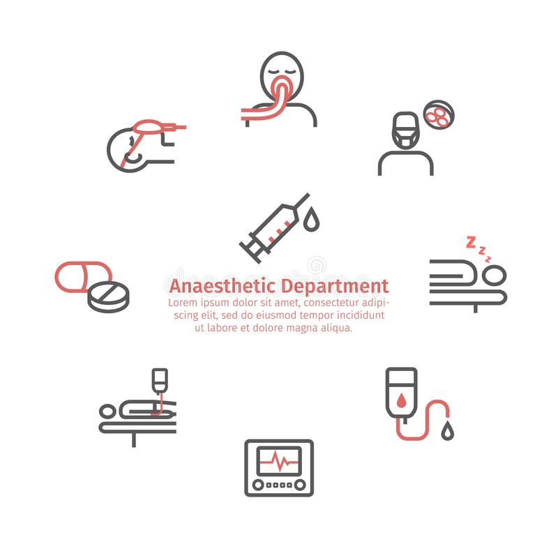 Insegna del giro di anestesia Linea icone Dipartimento anestetico Centro sanitario Segno di vettore per i grafici di web illustrazione vettoriale