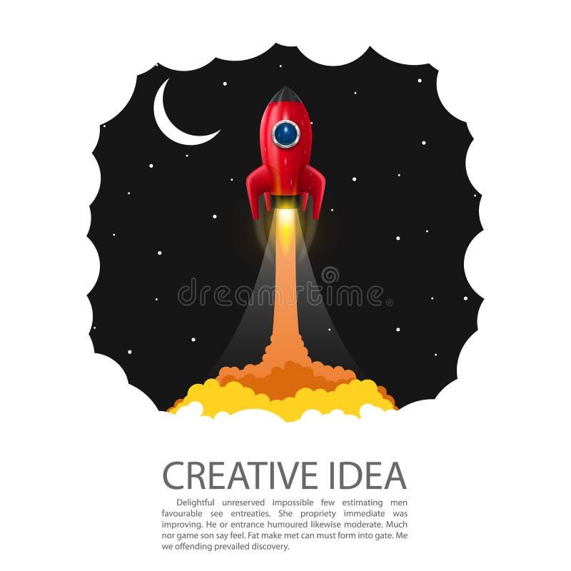 Insegna del lancio del razzo di spazio Idea creativa Startup, illustrazione di vettore illustrazione di stock