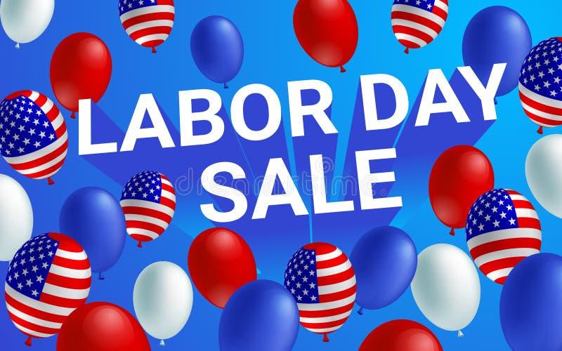Insegna del manifesto di vendita di festa del lavoro con il pallone della bandiera americana illustrazione vettoriale