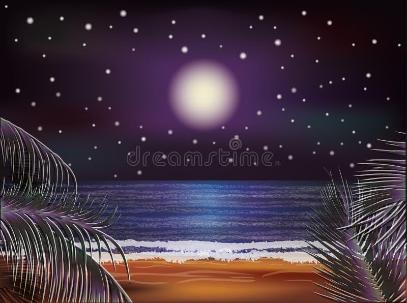 Insegna del mare di notte, vettore illustrazione di stock