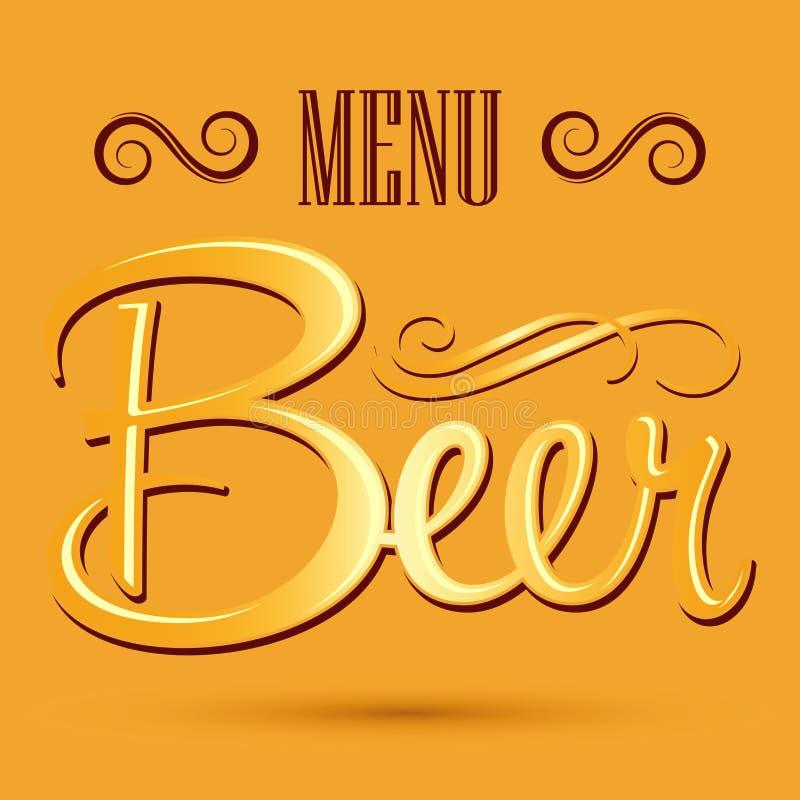 Insegna del menu della birra - iscrizione di vettore illustrazione vettoriale