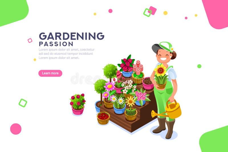 Insegna del modello di Seasonal Market Female del fiorista illustrazione di stock