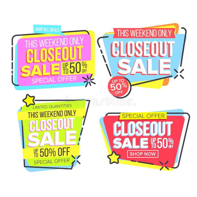 Insegna del modello di vendita di Closeout nel vettore dell'insieme della struttura royalty illustrazione gratis