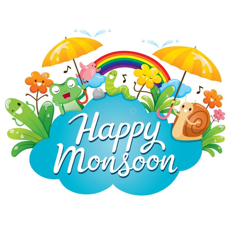 Insegna del monsone felice con personaggio dei cartoni animati, gli animali e Natu royalty illustrazione gratis