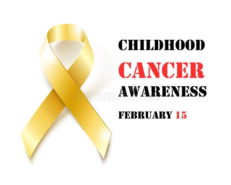 Insegna del nastro dell'oro di consapevolezza del Cancro di infanzia royalty illustrazione gratis