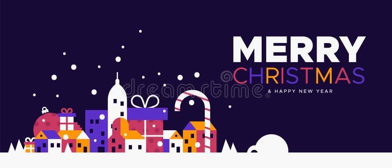 Insegna del nuovo anno e di Natale della città di inverno royalty illustrazione gratis