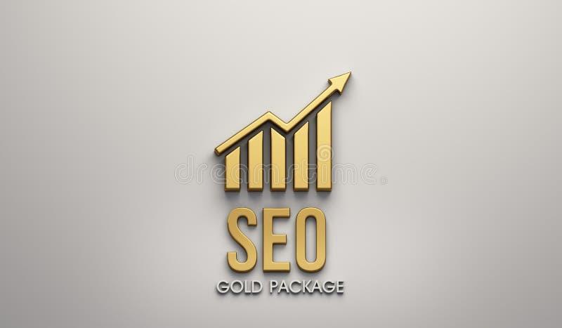Insegna del pacchetto dell'oro di SEO 3d rendono l'illustrazione royalty illustrazione gratis