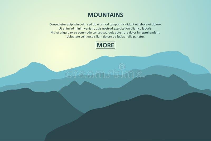 Insegna del paesaggio delle montagne Viaggio della montagna, concetto di turismo Modello per la pagina del sito Web Vettore illustrazione vettoriale